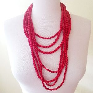 Our World Red Statement Necklace Multilayer